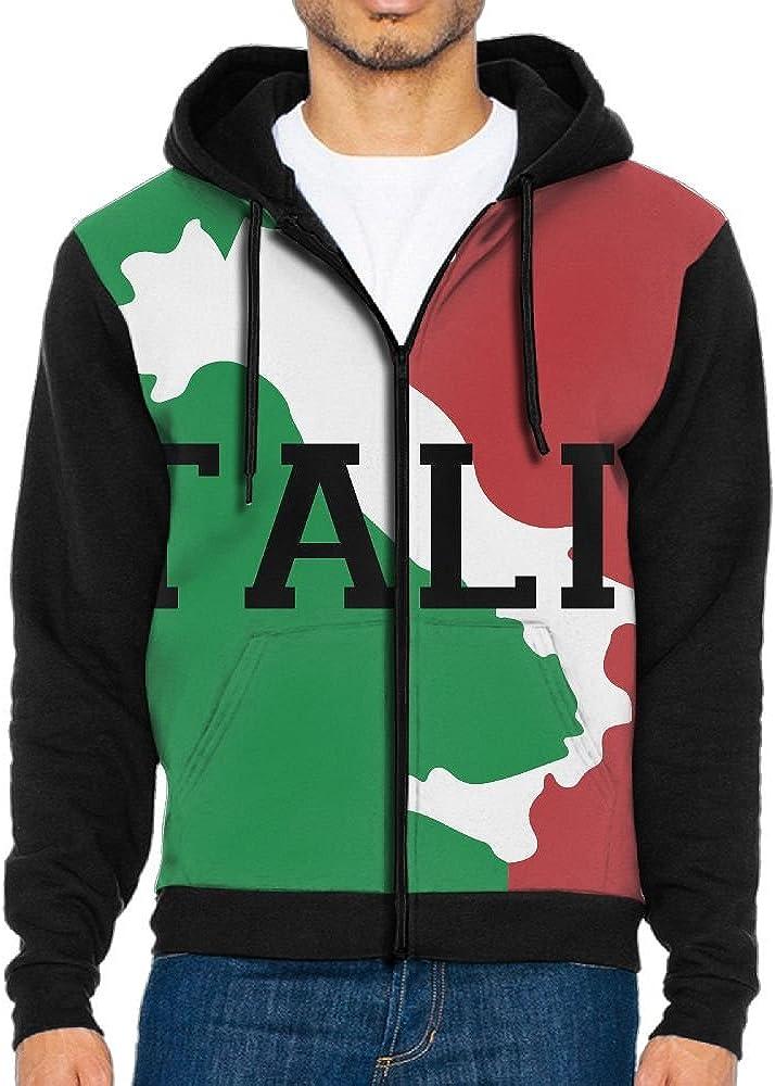 Slim Fit Italian Designers Mens Authentic Full Zip Hooded Fleece Winter Jacket