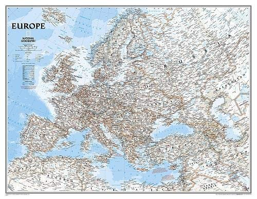 National Geographic: Europe Classic Enlarged Wall Map (46 x 35.75 inches) (National Geographic Reference Map)