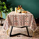 SUTAVIA Boho Tablecloth Pompom Tassel Rectangle Table Covers,Wrinkle Free Cotton Linen Bohemian Style Farmhouse Design Table Cloth for Spring/Summer/Party/Picnic Dining Room(Boho Red, 60'x120')