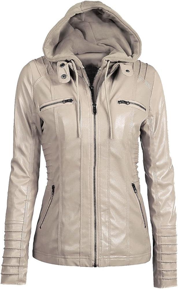 Memorose Womens Casual Hoodie Long Sleeve Zipper PU Leather Slim Bomber Bike Jacket Coat