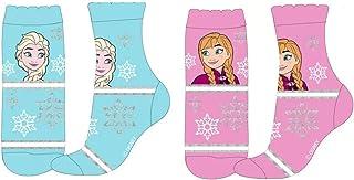 Le fantasie di casa, Los fantasías de casa calcetines para niña Tg 31/34 set 2 piezas Frozen de algodón rosa y azul con licencia Disney.