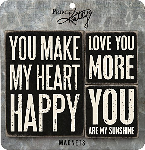 Primitives by Kathy Distressed Black and White Magnet Set, Heart Happy