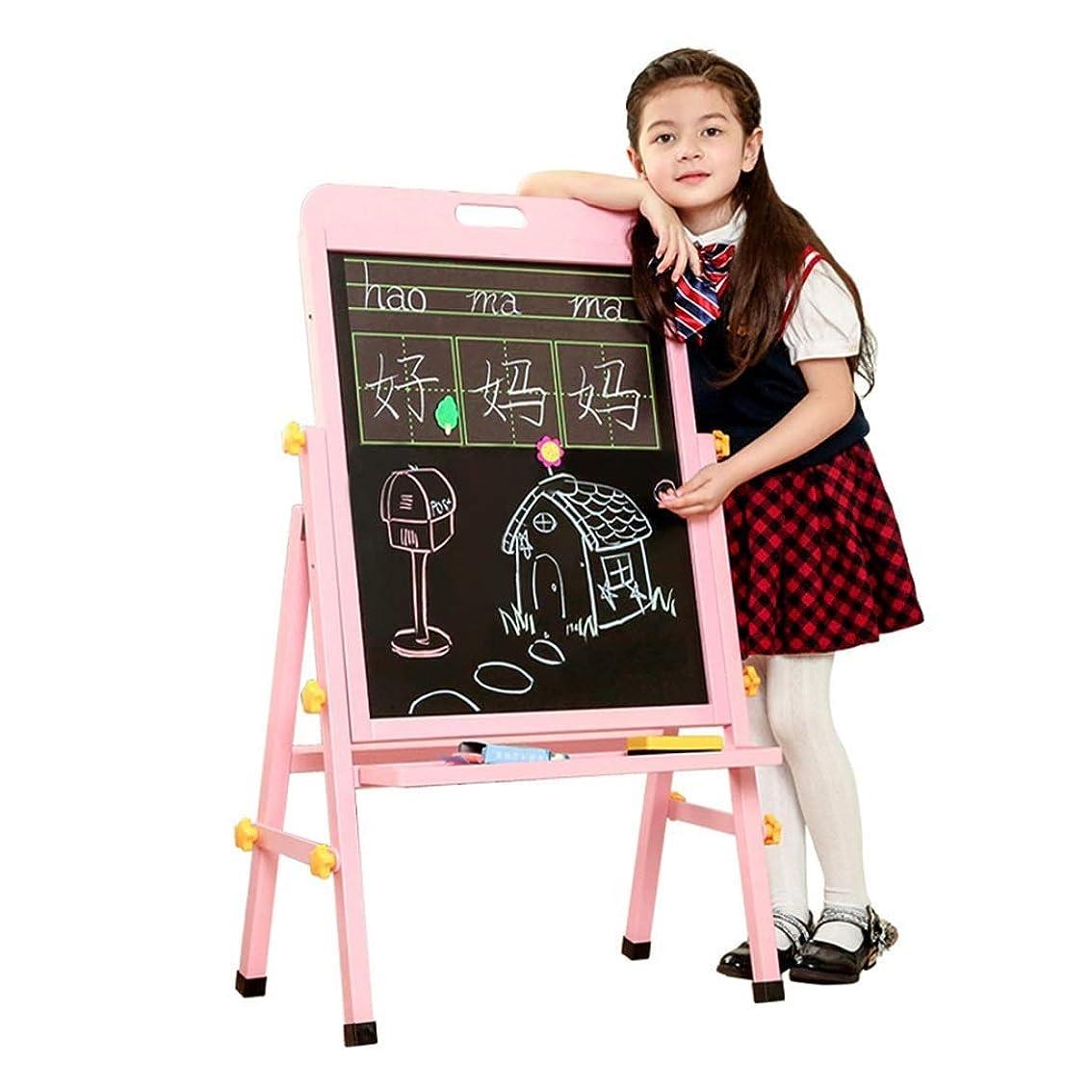 電極線固体2 in 1キッズイーゼル、両面調整可能黒板とホワイトドライイレースサーフェス、磁気スポンジとボトムトレイ、幼児用ウッドスタンディングイーゼル(ナチュラルウッド)