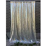 LQIAO 4FTx10FT Silver Sequin backdrops,Glitter Sequin Curtain,Wedding Photo Booth Backdrop,Photography Background,Christmas Decoration