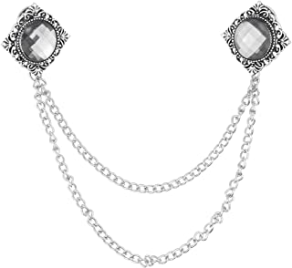 Freebily Broche de Alfiler Vintage con Cadena de Metal para Traje de Etiqueta Esmoquin Hombres Decoración de Cristal con B...