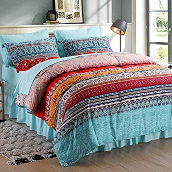 SexyTown Bohemian Comforter Set Queen,8 Pieces Bed in a Bag Down Comforter Set with Sheets,Boho Striped Exotic Colorful Bedding  1 Comforter 4 Pillow Cases Flat Sheet Fitted Sheet 1 Bed Skirt