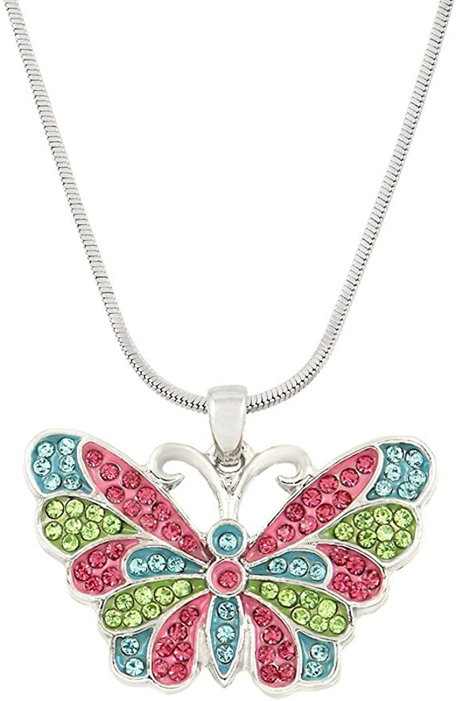Liavy's Butterfly Charm Pendant Fashionable Necklace - Sparkling Crystal - 17