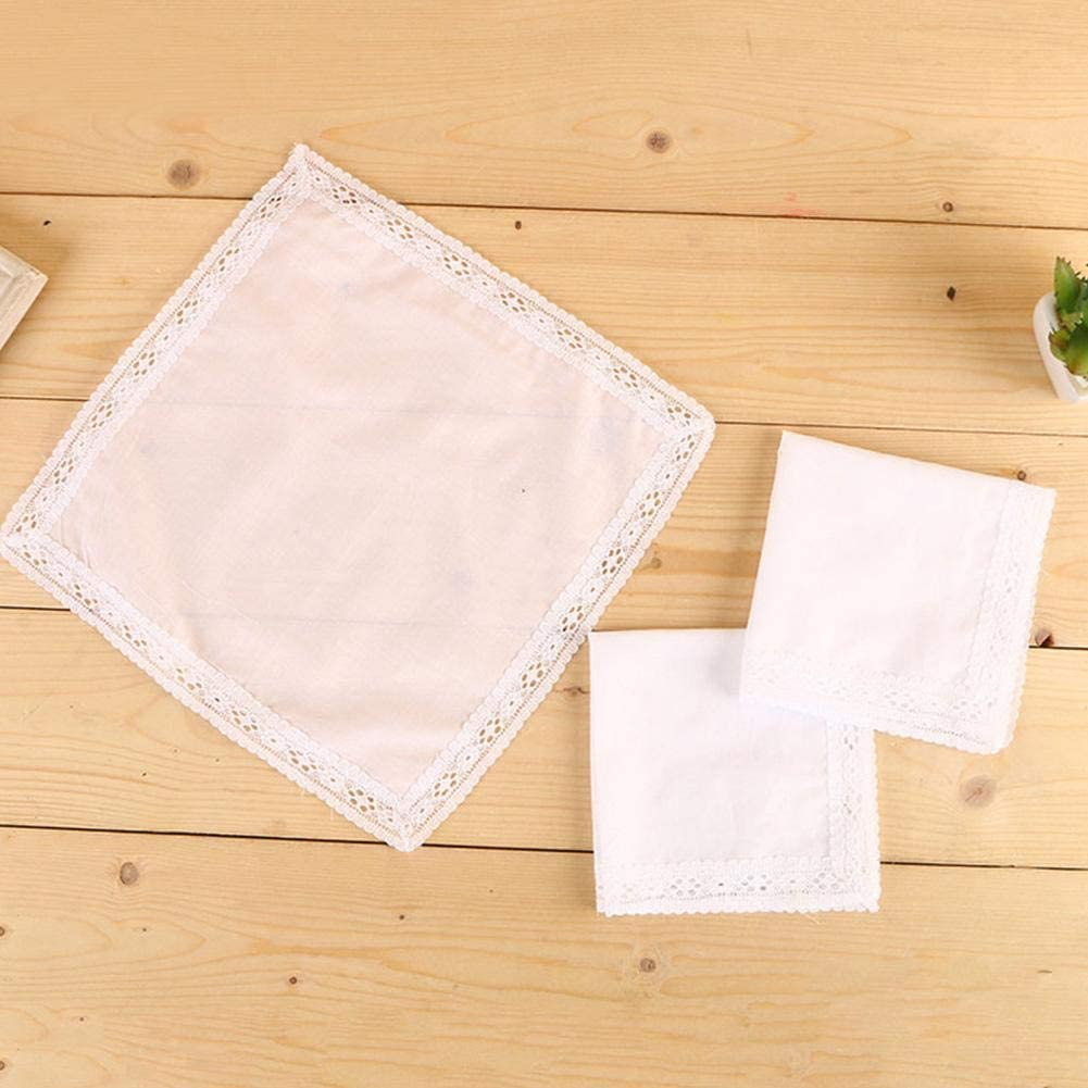 isilky Ladies 100 Cotton Handkerchiefs Womens Soft Solid Pure White Lace Hankies for Wedding Party 10x10