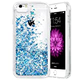iPhone 6 6S 7 8 Case, Caka iPhone 6S Glitter Case with Tempered Glass Screen Protector Bling Flowing Floating Luxury Glitter Sparkle Soft TPU Liquid Case for iPhone 6 6S 7 8 (4.7 inch) (Blue)