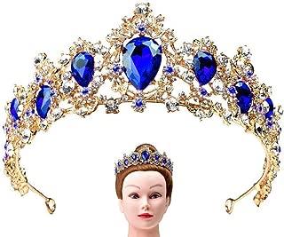 7 COLOR WINGS Luxury Crystal Ruby Royal Tiara Rhinestone Crystal Crown Bridal Wedding Crown Princess Tiara Headbands Hair Accessories for Women Bridal Party Birthday Headpieces (Blue)