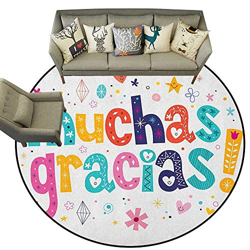 Mexican,Floor Mats Spanish Thank You Quote with Cartoon Style Hearts Diamonds Figures Flowers Artwork D40 Non-Slip Crawling Round Carpet Rugs
