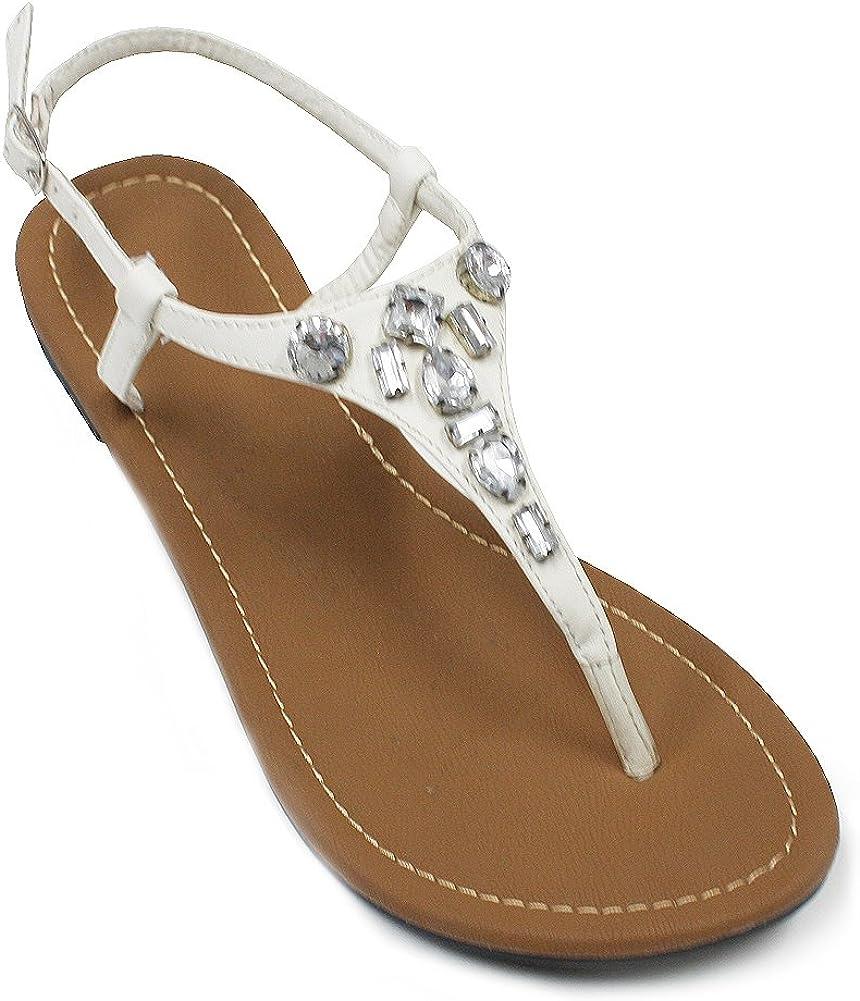 H2K 'Diana' Women's Rhinestone Flip-Flop [Thong Sandal] Comforta
