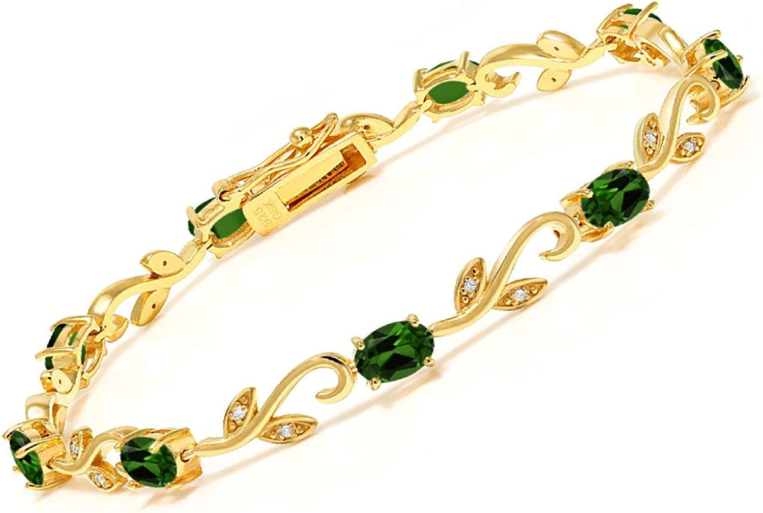 Gem Stone King 18K Yellow Gold Plated Silver Chrome Diopside Dia