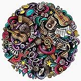 Cuteefun Puzzles para Adultos 1000 Piezas Puzzle Redondo Música Puzzle Instrumento Musical Puzzle para Niños Descompresión y Regalo