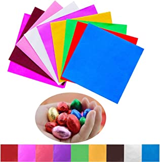 SAKOLLA 900 Pieces Square Aluminium Foil Chocolate Candy Wrappers for DIY Packaging Candies and Chocolate (4 x 4 Inch, 9 Colors)