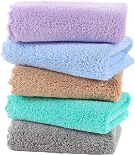 (5-Pack) Jhdstore Face Makeup Reusable Cloths Plush Microfiber Wash Cloth Chemical-Free Makeup Removal Cleansing Face Towel Facial Cleaning Wipes Ultra Soft for Sensitive Skin(25x25cm, Assorted 2)