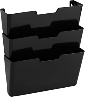AmazonBasics Hanging 3 Tier Wall File Organizer - Pack of 3, 13 x 15 Inches, Black