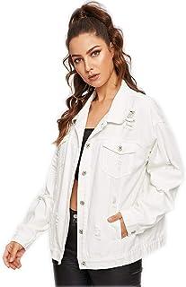Milumia Women Fashion Ripped Dual Pocket Denim Long Sleeve Jacket