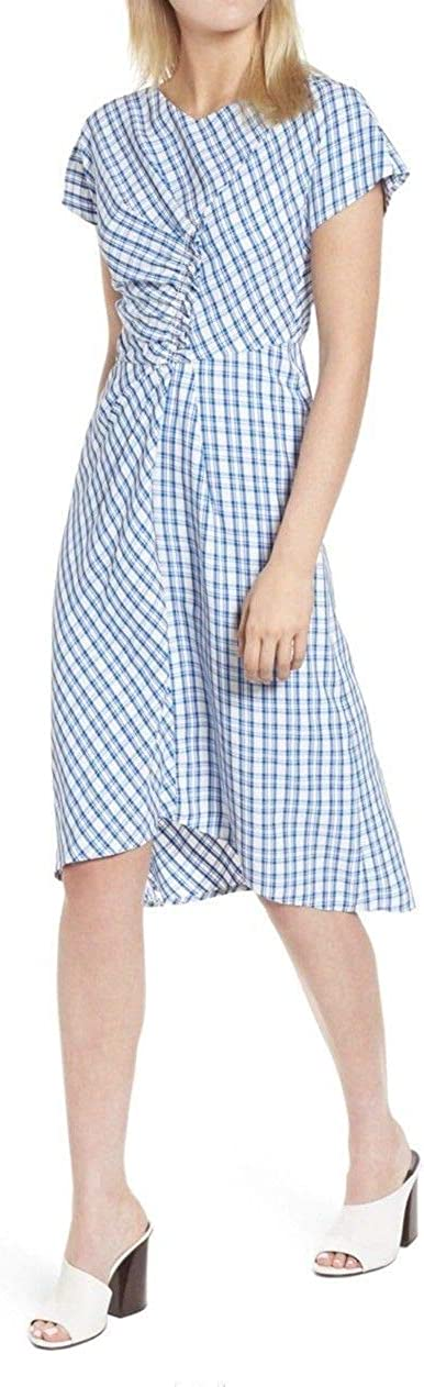 LEWIT Ruched Check Midi Short Casual Dress 6
