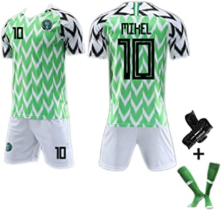 # 7# 10# 18 Kit de Copa Mundial de Nigeria 2018, Camiseta de fútbol para Hombres Camiseta Retro de fútbol para Adultos, Kit de Copa Mundial Varias Opciones con número (S-XXL)