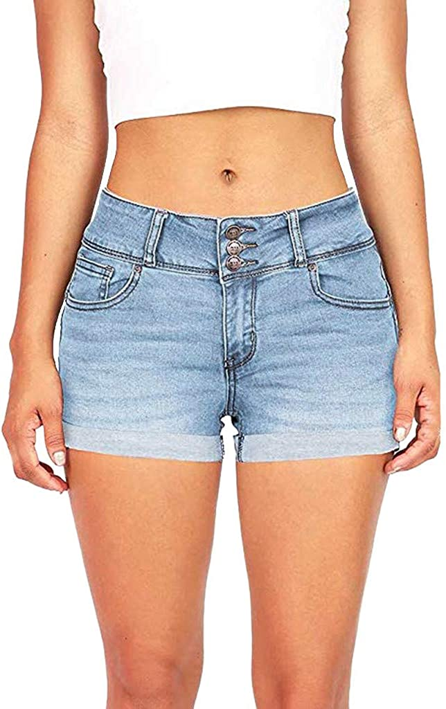 XINXX Women's Cut Off Denim Shorts Frayed Distressed Cute Ripped Hot Shorts Comfy Stretchy Short Pants with Pockets