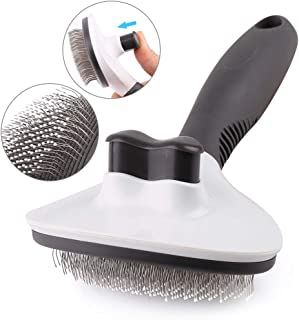PrimePets Self Cleaning Slicker Brush for Cats & Dogs, Updated Pet Grooming Brush Reduces Shedding Removes Tangle, Loose Hair, Shedding Fur, Suitable for Short & Long Hair of Dogs Pets