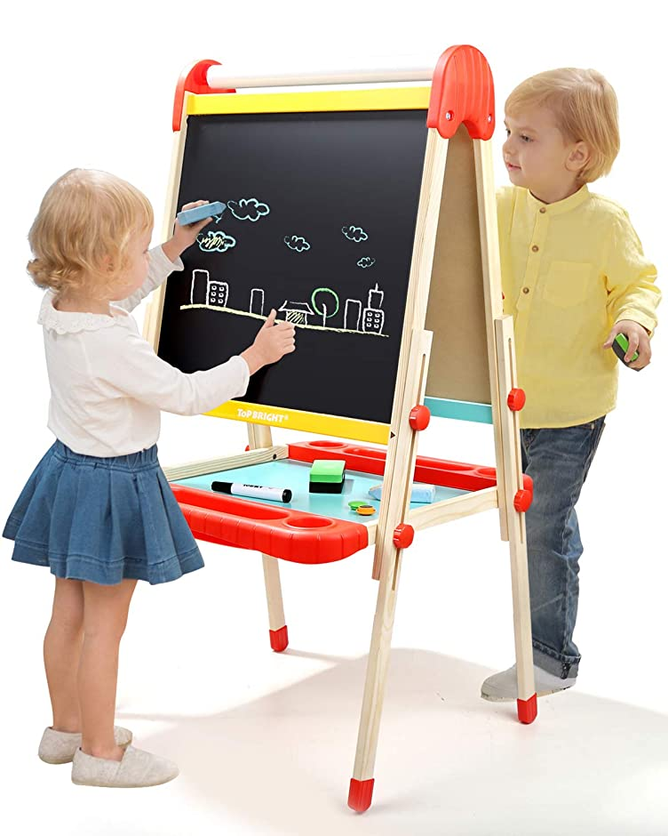 TOP BRIGHT Wooden Art Easel for Kids, Childrens Easel with Magnetic Chalkboard,Toddlers Easel Adjustable with Paper Roll