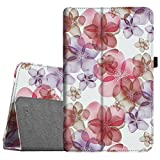 Fintie Folio Case for Samsung Galaxy Tab E 9.6 - Slim Fit Premium Vegan Leather Cover for Tab E/Tab E Nook 9.6-Inch Tablet (SM-T560/T561/T565 & SM-T567V Verizon 4G LTE Version), Silk Flowers