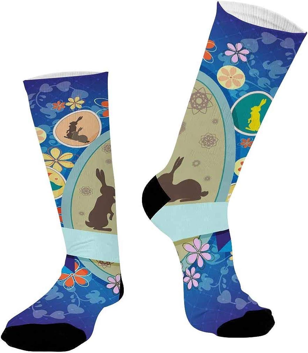 INTERESTPRINT Unisex Sublimated Crew Socks Athletic Running Socks Blue Easter Eggs Flowers