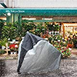 Waterproof Bike Cover Protective Bicycle Cover Rain Resistance <span class='highlight'><span class='highlight'>ELR</span></span> Heavy Duty Cycling Covers for Road Bike Scooter Cover in Garage with Lork Polyester–Silver and Black (S(170*60*85cm/67*23.6*33.5in))