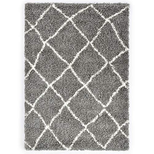vidaXL Berberteppich Hochflor Exotische Charme Teppich Wohnzimmerteppich Läufer Teppichboden PP Grau Beige 160x230cm Polypropylen 2360 g/m²