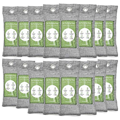16 Pack Bamboo Charcoal Air Purifying Bag, Activated Charcoal Bags Odor Absorber, Moisture Absorber, Natural Car Air Freshener, Shoe Deodorizer, Odor Eliminators For Home, Pet, Closet (16x50g)