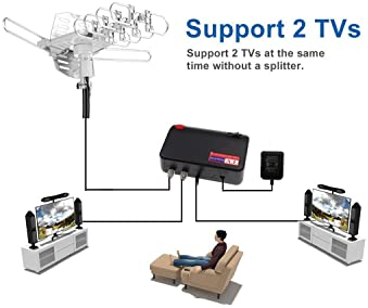 pingbingding PBD WA-2608 Digital Amplified Outdoor HD TV Antenna with Mounting Pole & 40 ft RG6 Coax Cable 150 Miles ...