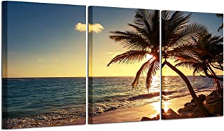 iHAPPYWALL 3 Pieces Ocean Canvas Wall Art Sunset Beach Palm Tree Multi Panel Seascape Giclee Canvas Prints on Canvas Wall Art Modern Stretched and Framed Pictures Paintings Artwork for Home Decor