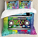 Ambesonne Groovy Duvet Cover Set, Old Style Hippie Van Dripping Rainbow Paint Mid 60s Youth Revolution Movement Theme, Decorative 3 Piece Bedding Set with 2 Pillow Shams, Queen Size, Magenta