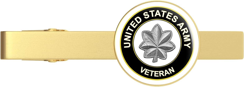 HOF Trading Gold U.S. Army Lieutenant Colonel Veteran Gold Tie Clip Tie Bar Veteran Gift