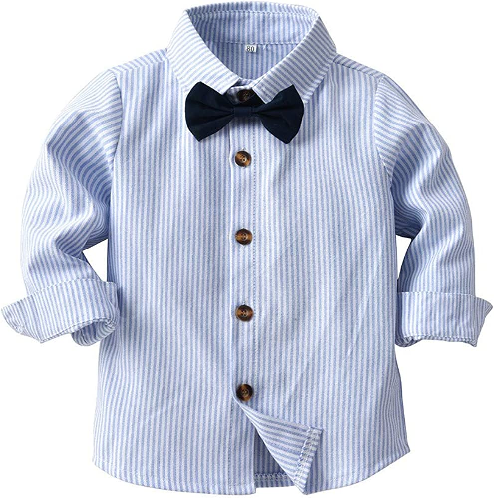 Wenini Baby Boys Gentleman Outfits Suit Toddler Long Sleeve Shirt+Overall Pants Sets