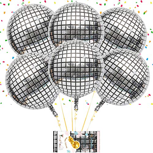 Eanjia 6 Count 16 Silver Laser Disco Party Decoration Balloon Hangable 4D Round Sphere Shaped Aluminum Foil Balloon Self-Sealing For Birthday Disco Home Dance Party Event Supplies.