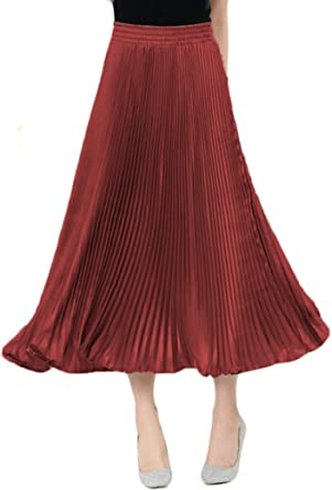 YSJERA Women's A-Line Knee Length Skirt Chiffon Pleated Vintage Swing Skirts