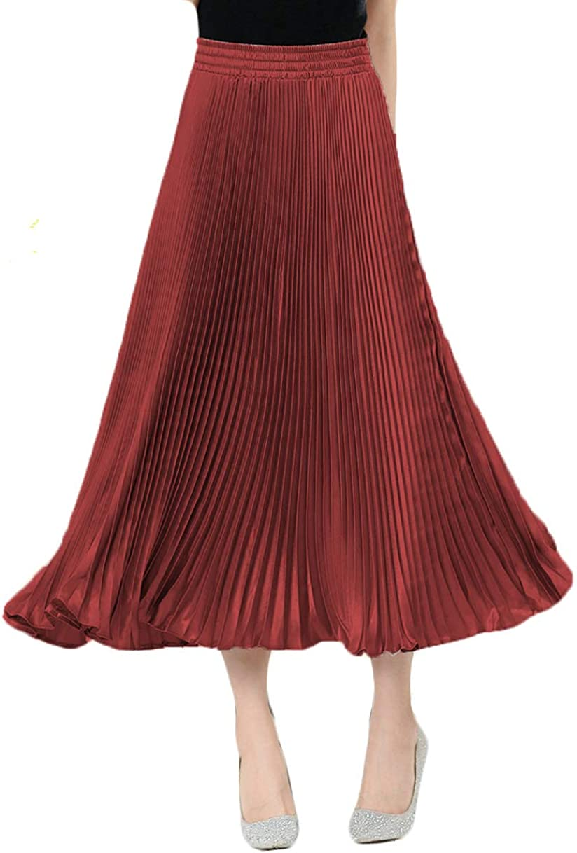 Women's Pleated A-Line Midi Skirts Metallic Glossy Vintage Swing Skirts Solid Color
