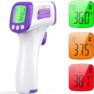 Termometro Infrarrojos Digitales, KKmier Termómetro Infrarrojos Médico sin Contacto con Pantalla LCD, Termómetro de frente...