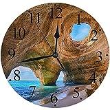 LUHUN Reloj de Pared Moderno,Algarve Caves Portugal Pequeña Playa Grandes Cuevasreloj de Cuarzo de Cuarzo Redondo No-Ticking para Sala de Estar 30 cm