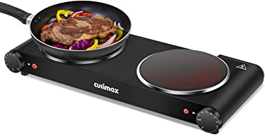 Cusimax Portable Electric Stove, 1800W Infrared Double Burner Heat-up In Seconds, 7 Inch Ceramic Glass Double Hot Plate Cookt