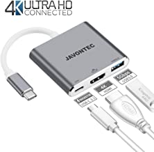 USB C to HDMI Adapter JAVONTEC Multiport Type C Hub with 4K HDMI,USB 3.0 Port and Power Delivery,USB Type C to HDMI Adapter Compatible with MacBook Pro,Google Chromebook,HP Spectre,Samsung S8/S9 More