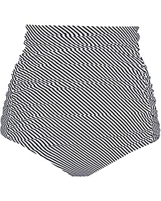 Tempt Me Women's High Waisted Swimsuit Bottom White Striped Tummy Control Ruched Bikini Bottom Vintage Swim Shorts Tankini Briefs S