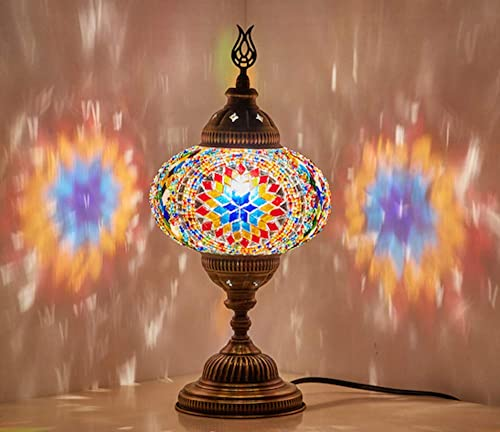 (10 Colors) Turkish Moroccan Handmade Mosaic Tiffany Table Desk Bedside Lamp Lampshade for AU Use with AU Plug & AU S...
