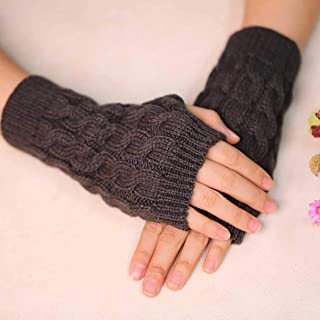 Zoestar Winter Arm Warmers Crochet Knit Fingerless Gloves with Thumb Hole Arm Gloves for Women (Grey)
