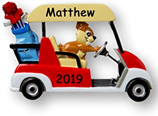 Personalized Squirrel Driving Golf Cart Funny Gag Gift Joke Christmas Ornament Holiday Tree Decoration with Custom Name and Date