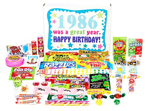 Woodstock Candy ~ 1986 35th Birthday Gift Box of Nostalgic Retro Candy Assortment from Childhood for 35 Year Old Man or Woman Born 1986