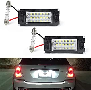 GemPro 2Pcs LED License Plate Light Lamp Assembly For 2006-2014 MINI Cooper Gen2 R56 R57 R58 R59, Powered by 18SMD Xenon White LED Lights